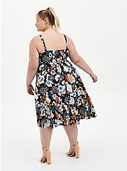 Black Floral Challis Skater Midi Dress, FLORAL - BLACK, alternate