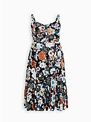 Black Floral Challis Skater Midi Dress, FLORAL - BLACK, hi-res
