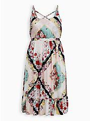 Multi Scarf Print Challis Strappy Tiered Midi Dress, SCARF - WHITE, hi-res