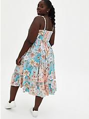Multi Floral Mesh Inset Challis Skater Midi Dress, FLORAL - MULTI, alternate