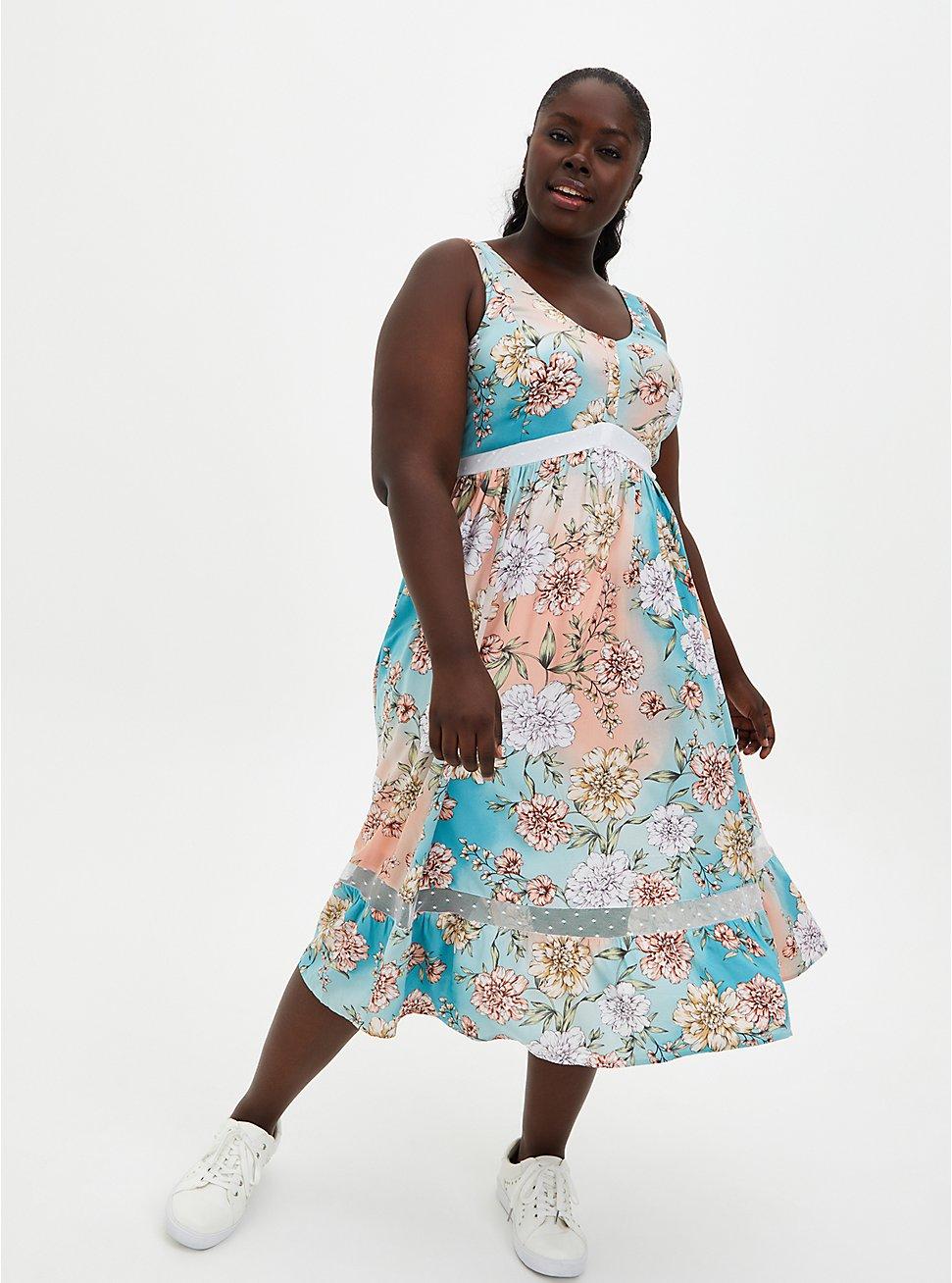 Multi Floral Mesh Inset Challis Skater Midi Dress, FLORAL - MULTI, hi-res