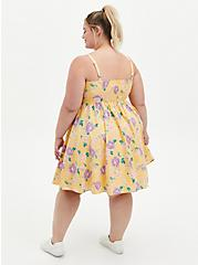 Yellow Floral Poplin Skater Dress, FLORAL - YELLOW, alternate