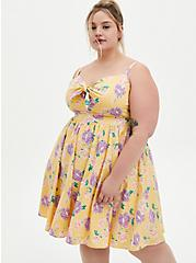 Yellow Floral Poplin Skater Dress, FLORAL - YELLOW, hi-res