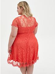 Coral Lace Button Front Skater Dress, DEEP SEA CORAL, alternate