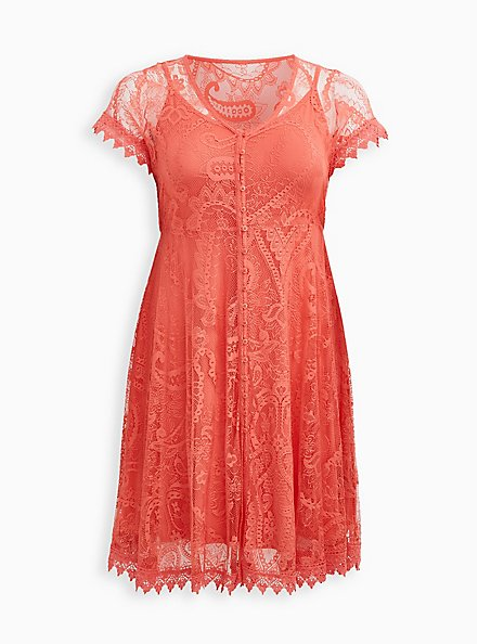 Coral Lace Button Front Skater Dress, DEEP SEA CORAL, hi-res