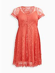 Coral Lace Button Front Skater Dress, DEEP SEA CORAL, hi-res