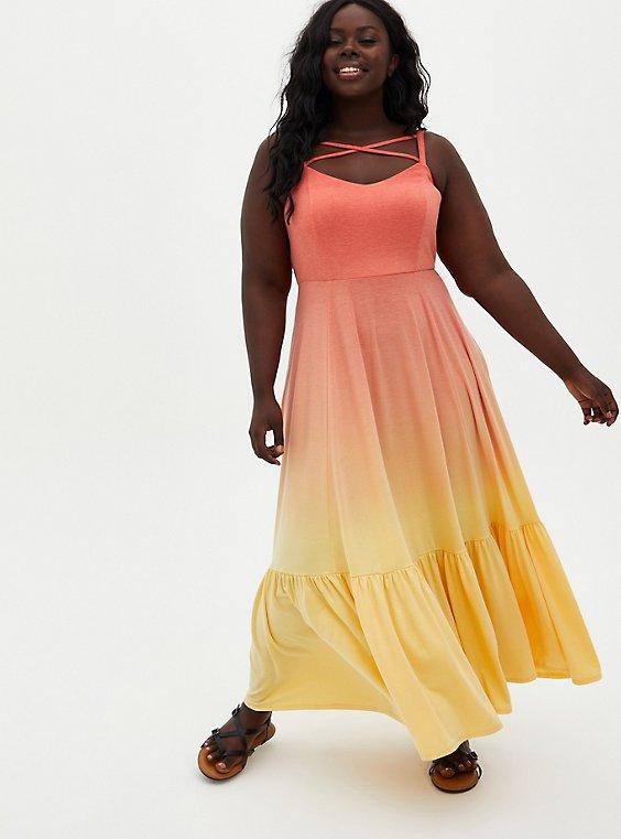 Super Soft Coral Ombre Strappy Maxi Dress, , hi-res