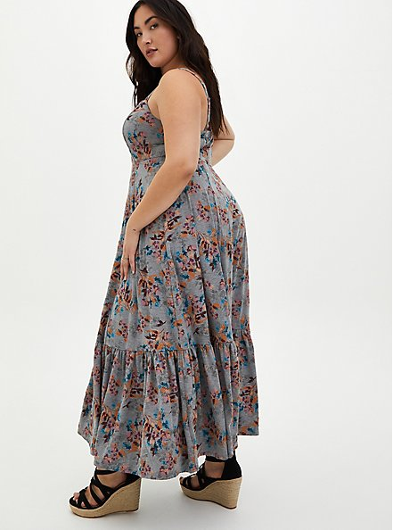 Super Soft Grey Floral Strappy Maxi Dress, FLORAL - GREY, alternate