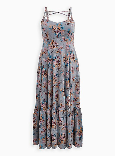 Super Soft Grey Floral Strappy Maxi Dress, FLORAL - GREY, hi-res