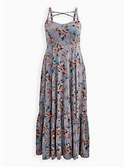 Super Soft Grey Floral Strappy Maxi Dress, FLORAL - GREY, hi-res