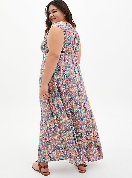 Plus Size Pink Tile Challis Skater Maxi Dress, TILE - PINK, alternate