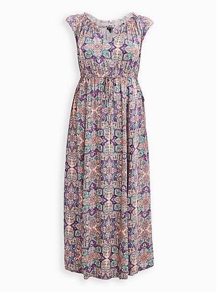 Plus Size Pink Tile Challis Skater Maxi Dress, TILE - PINK, hi-res
