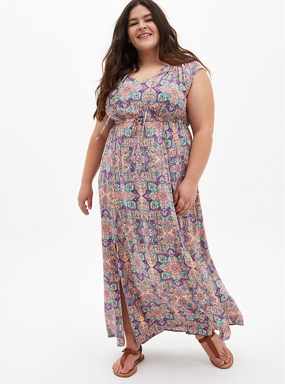 Pink Tile Challis Skater Maxi Dress, TILE - PINK, hi-res