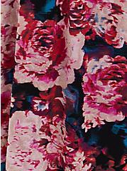 Black Floral Studio Knit Sweetheart Skater Midi Dress, FLORAL - BLACK, alternate