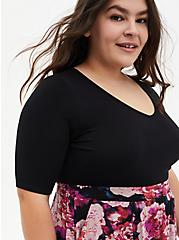Plus Size Black Floral Knit-To-Woven Dress, FLORAL - BLACK, alternate
