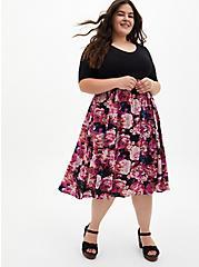 Plus Size Black Floral Knit-To-Woven Dress, FLORAL - BLACK, hi-res