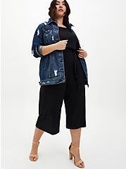 Plus Size Black Textured Knit Culotte Jumpsuit, DEEP BLACK, alternate