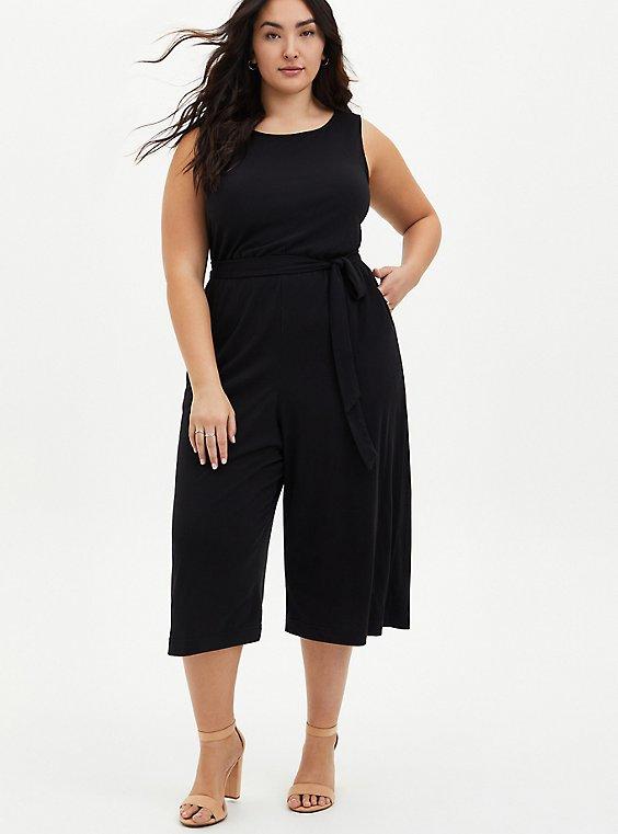 Plus Size Black Textured Knit Culotte Jumpsuit, , hi-res