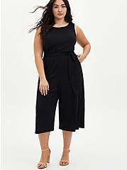 Plus Size Black Textured Knit Culotte Jumpsuit, DEEP BLACK, hi-res