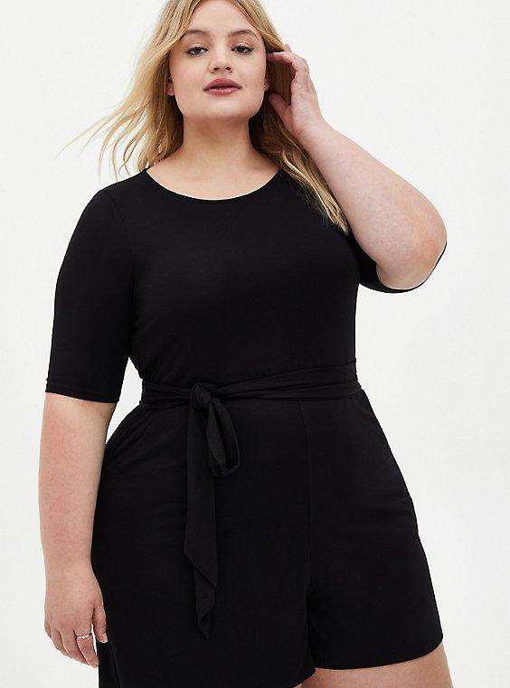 Plus Size Super Soft Black Romper, , hi-res