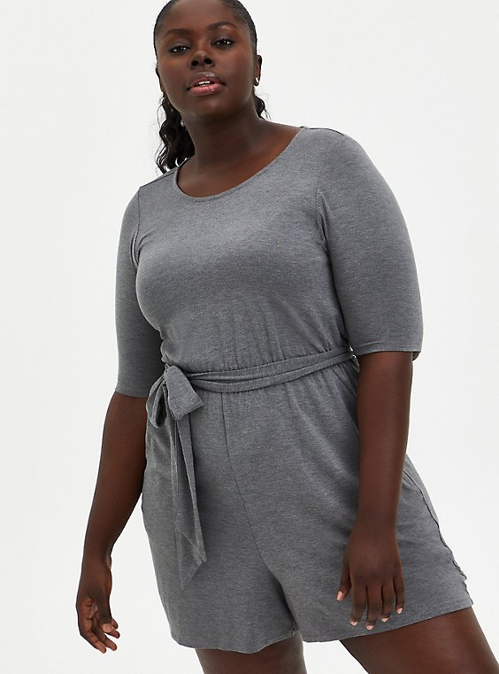 Super Soft Grey Romper, HEATHER GREY, hi-res