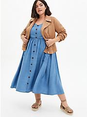 Blue Chambray Button Front Skater Midi Dress, CHAMBRAY, alternate