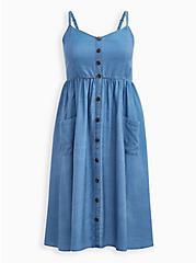 Blue Chambray Button Front Skater Midi Dress, CHAMBRAY, hi-res