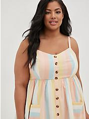 Multi Stripe Linen Button Front Skater Midi Dress, STRIPE - MULTI, alternate