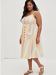 Multi Stripe Linen Button Front Skater Midi Dress, STRIPE - MULTI, hi-res