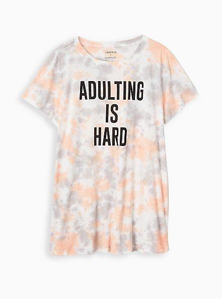 Relaxed Tunic Tee - Heritage Slub Adulting Is Hard Tie-Dye Multi , MULTI, hi-res