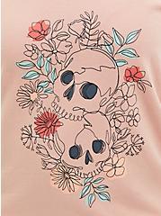 Pink Skull Terry Off Shoulder Sweatshirt, DUSTY QUARTZ, alternate