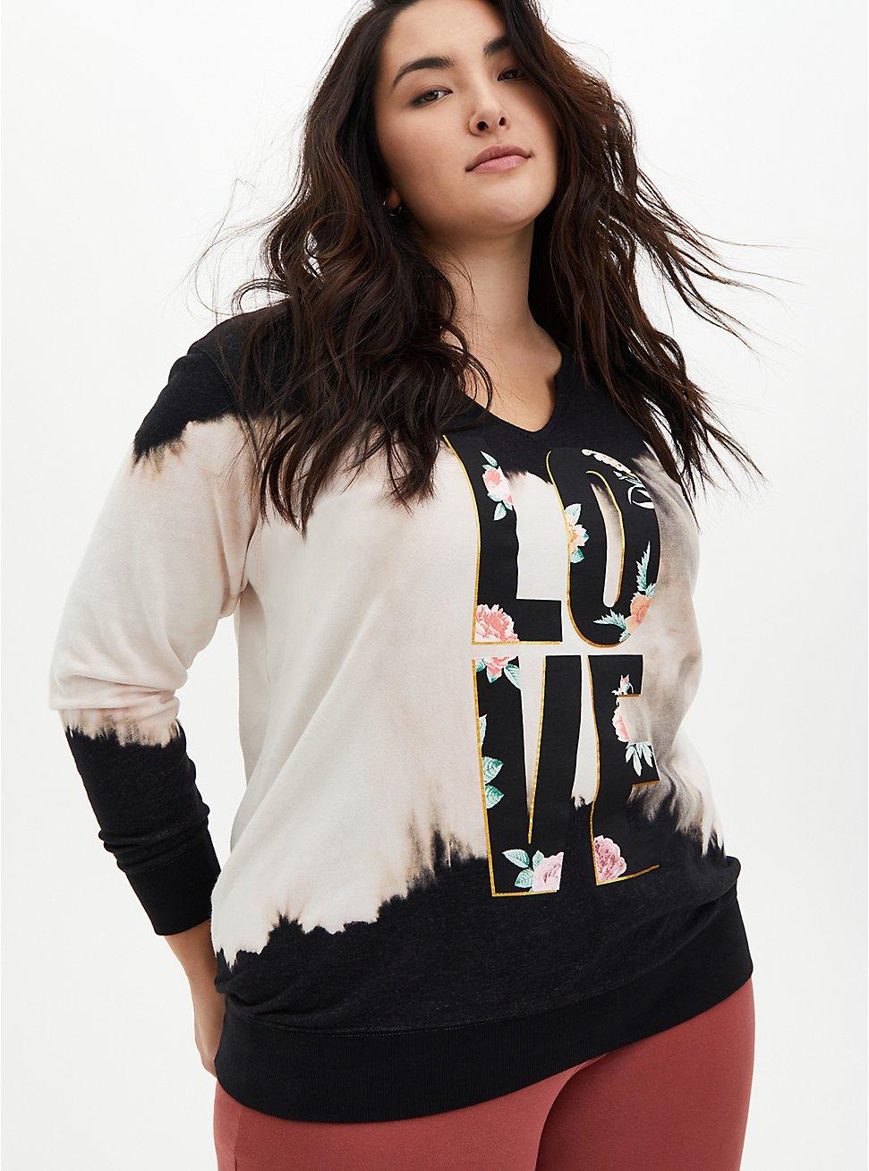 Love Black Wash Split Sweatshirt, DEEP BLACK, hi-res