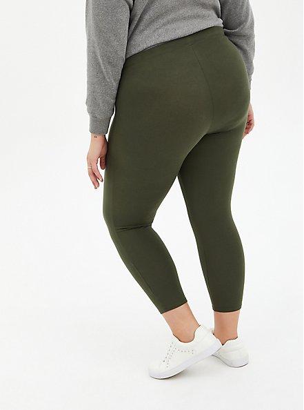 Plus Size Crop Premium Comfort Legging - Olive, GREEN, alternate