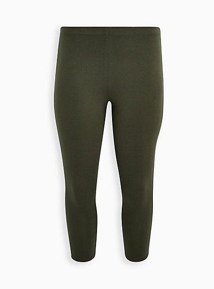 Plus Size Crop Premium Comfort Legging - Olive, GREEN, hi-res