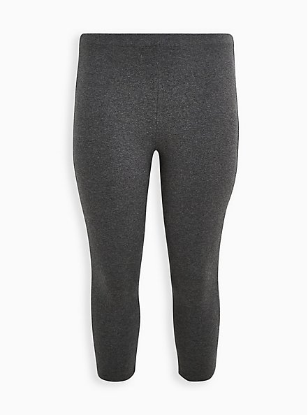 Comfort Waist Crop Premium Legging - Dark Heather Grey, GREY, hi-res