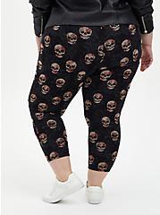 Comfort Waist Crop Premium Legging - Multi Skull Floral, MULTI, alternate