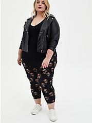 Comfort Waist Crop Premium Legging - Multi Skull Floral, MULTI, hi-res