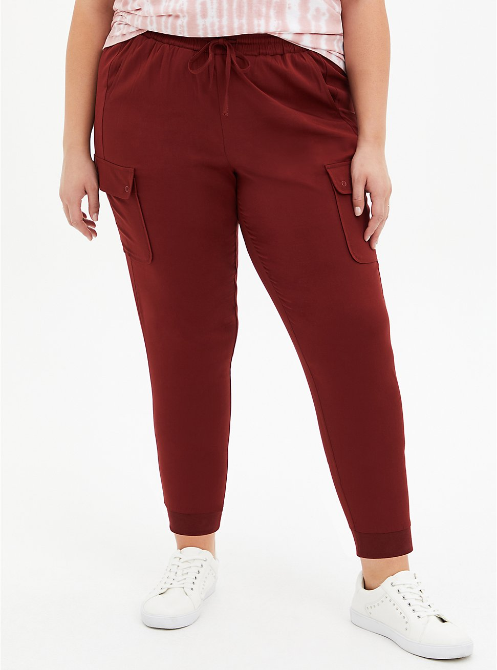 Relaxed Fit Crop Jogger - Challis Brick Red, MADDER BROWN, hi-res