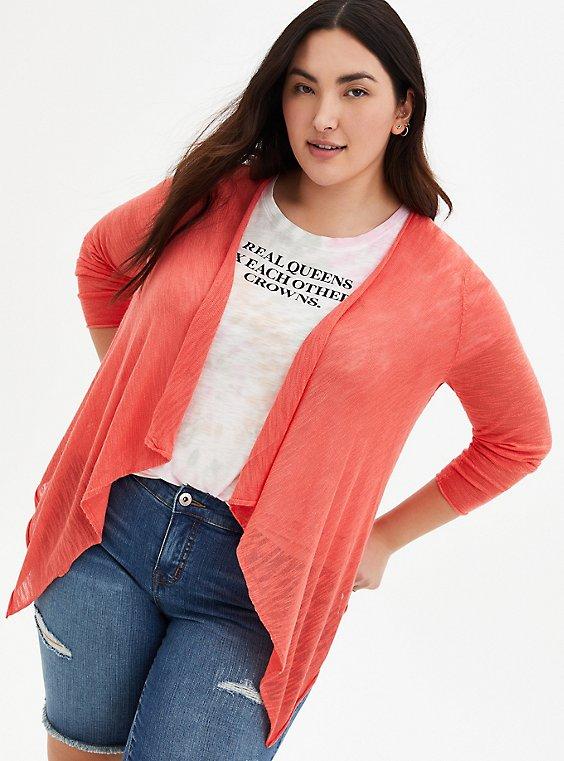Coral Drape Open Cardigan Sweater, PEACH NECTAR, hi-res
