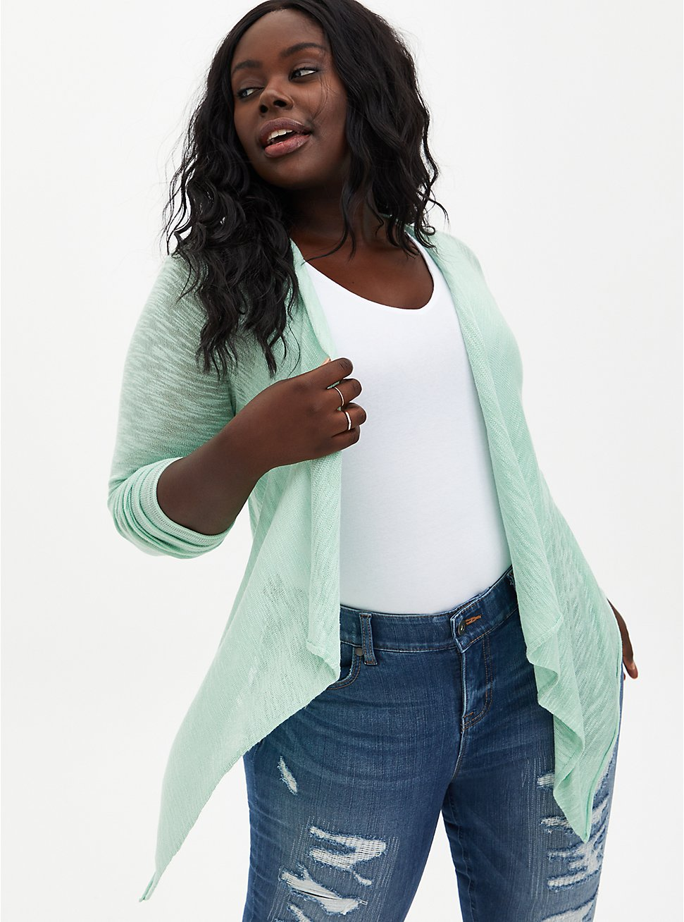 Jade Green Drape Open Cardigan Sweater, GRAYED JADE, hi-res