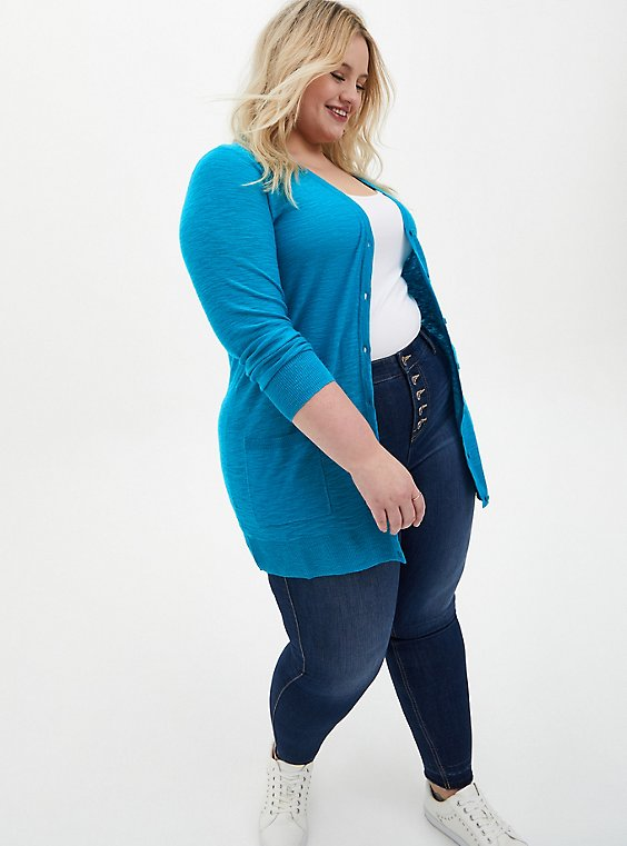 Teal Slub Boyfriend Button Front Cardigan Sweater, TEAL, hi-res