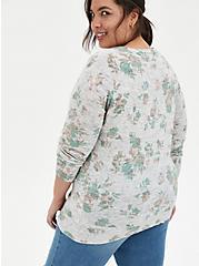 Grey Floral Raglan Sweatshirt, FLORAL - GREY, alternate