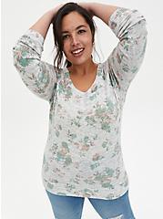 Grey Floral Raglan Sweatshirt, FLORAL - GREY, hi-res