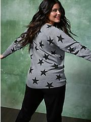 Plus Size Grey Stars Raglan Sweatshirt, STARS - GREY, alternate