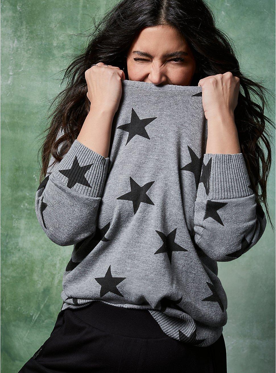 Plus Size Grey Stars Raglan Sweatshirt, STARS - GREY, hi-res