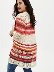 Taupe Stripe Crochet Open Front Cardigan Sweater, STRIPE - TAN, alternate