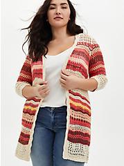 Taupe Stripe Crochet Open Front Cardigan Sweater, STRIPE - TAN, hi-res