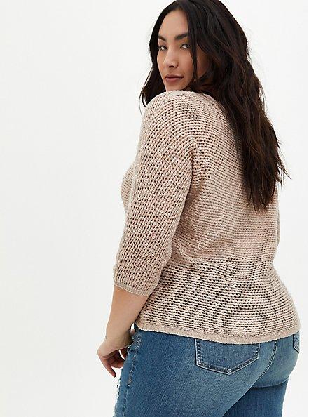 Taupe Slub Dolman Sweater, MUSHROOM, alternate