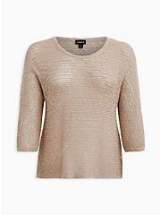 Taupe Slub Dolman Sweater, MUSHROOM, hi-res
