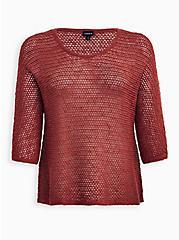 Dusty Rose Slub Dolman Sweater, MARSALA, hi-res